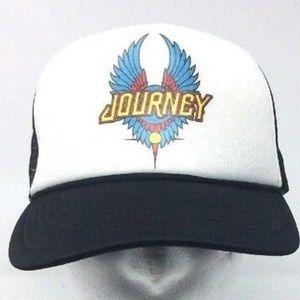 Other - Journey Band Trucker Snapback Hat Black Mesh Cap